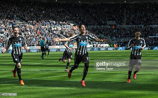 Ayoze Perez of Newcastle celebrates after scoring the equalising goal during the Barlcays Premier League match between Newcastle United and West...