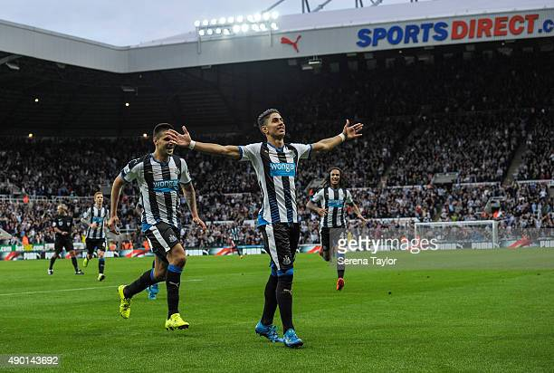 Ayoze Perez of Newcastle celebrates after scoring the opening goal during the Barclays Premier League match between Newcastle United and Chelsea at...
