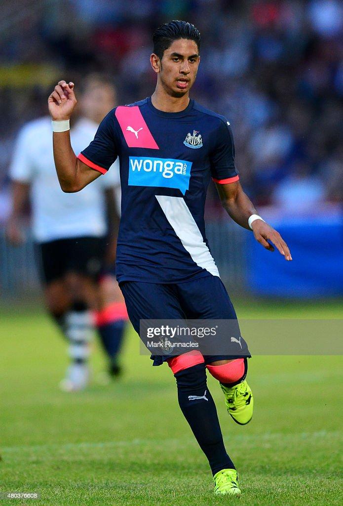 Ayoze Perez of Newcastle in action during the pre season friendly match between Gateshead and Newcastle United at Gateshead International Stadium on...