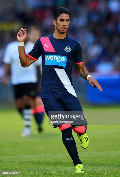Ayoze Perez of Newcastle in action during the pre season friendly match between Gateshead and Newcastle United at Gateshead International Stadium on...