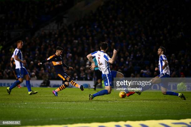 Ayoze Perez of Newcastle scores his sides second goal during the Sky Bet Championship match between Brighton Hove Albion v Newcastle United at Amex...