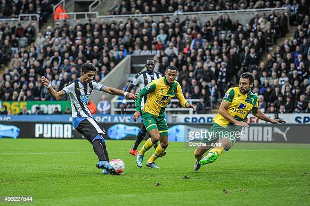 Ayoze Perez of Newcastle scores their third goal during the Barclays Premier League match between Newcastle United and Norwich City at StJames' Park...