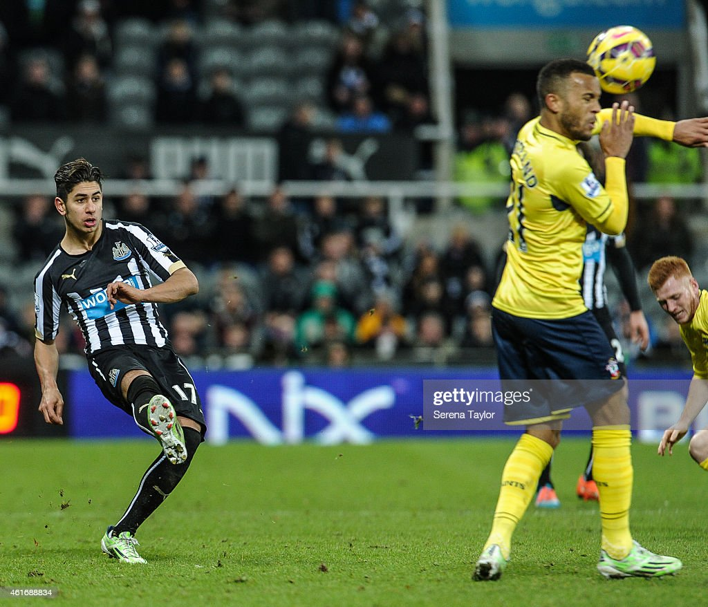 Ayoze Perez of Newcastle strikes the ball during the Barclays Premier League match between Newcastle United and Southampton at St.James' Park on January 17, 2015, in Newcastle upon Tyne, England.