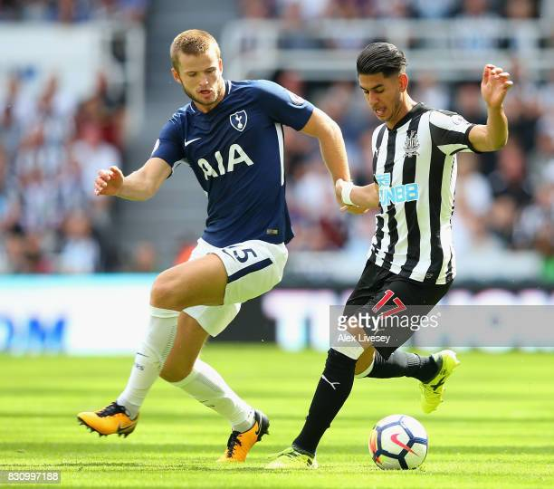 Ayoze Perez of Newcastle United and Eric Dier of Tottenham Hotspur battle for possession during the Premier League match between Newcastle United and...