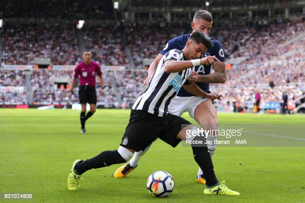 Ayoze Perez of Newcastle United and Toby Alderweireld of Tottenham Hotspur during the Premier League match between Newcastle United and Tottenham...