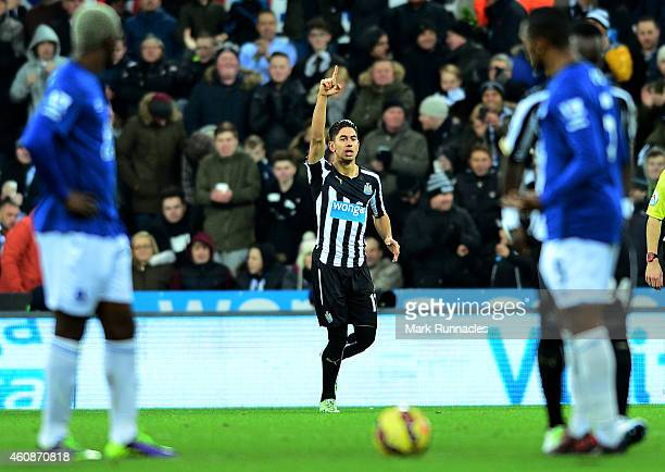 Ayoze Perez of Newcastle United celebrates after scoring his team's second goal during the Barclays Premier League match between Newcastle United and...
