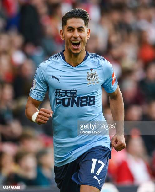 Ayoze Perez of Newcastle United celebrates after scoring Newcastle's second goal goal during the Premier League match between Southampton and...