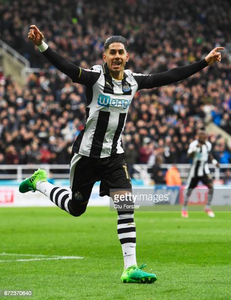 Ayoze Perez of Newcastle United celebrates as he scores their first goal during the Sky Bet Championship match between Newcastle United and Preston...