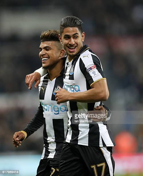 Ayoze Perez of Newcastle United celebrates scoring his sides sixth goal during the EFL Cup fourth round match between Newcastle United and Preston...