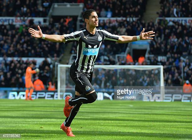 Ayoze Perez of Newcastle United celebrates scoring his team's first goal during the Barclays Premier League match between Newcastle United and West...