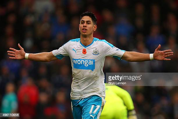 Ayoze Perez of Newcastle United celebrates scoring his team's first goal during the Barclays Premier League match between AFC Bournemouth and...