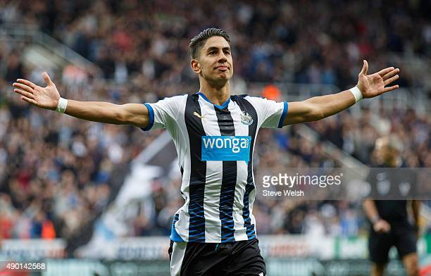 Ayoze Perez of Newcastle United celebrates scoring the opening goal during the Barclays Premier League match between Newcastle United and Chelsea at...