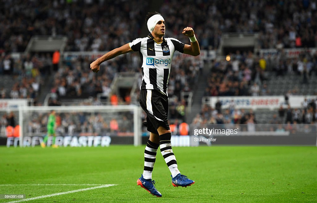 Ayoze Perez of Newcastle United celebrates scoring the opening goal during the EFL Cup second round match between Newcastle United and Cheltenham Town at St. James' Park on August 23, 2016 in Newcastle upon Tyne, England.