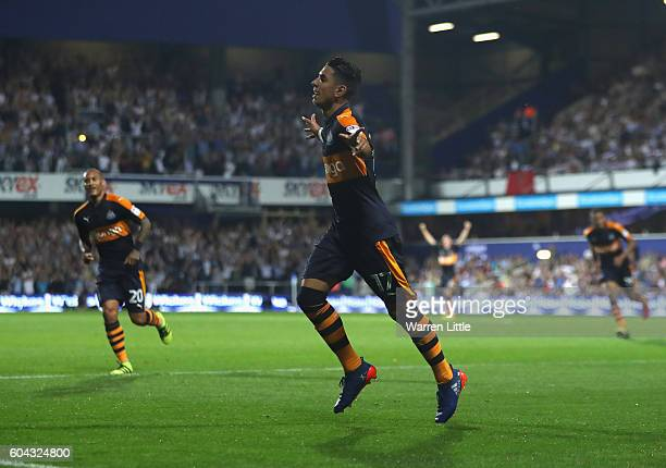 Ayoze Perez of Newcastle United celebrates scoring the second goal during the Sky Bet Championship match between Queens Park Rangers and Newcastle...