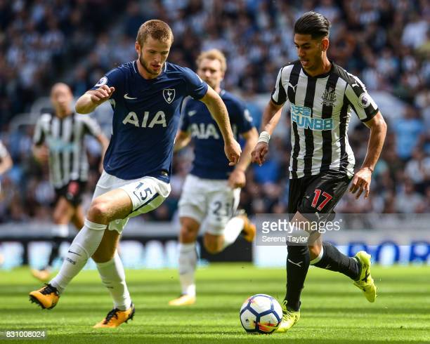 Ayoze Perez of Newcastle United controls the ball whilst Eric Dier of Tottenham Hotspur looks to challenge during the Premier League Match between...