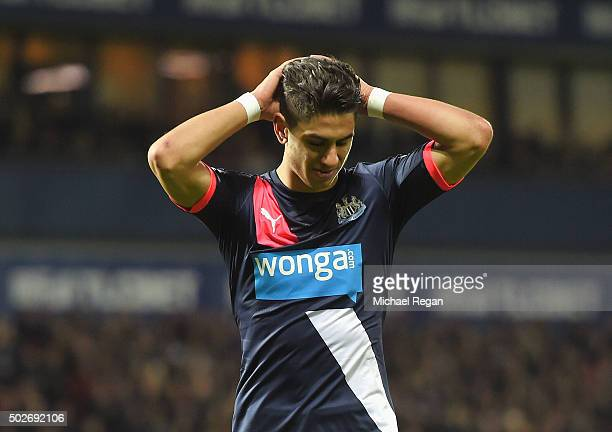 Ayoze Perez of Newcastle United reacts during the Barclays Premier League match between West Bromwich Albion and Newcastle United at The Hawthorns on...
