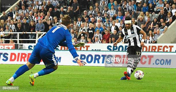 Ayoze Perez of Newcastle United scores his team's second goal during the EFL Cup second round match between Newcastle United and Cheltenham Town at...