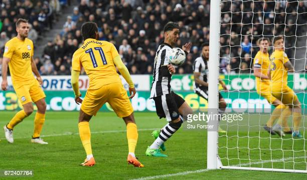 Ayoze Perez of Newcastle United scores their fourth goal during the Sky Bet Championship match between Newcastle United and Preston North End at St...