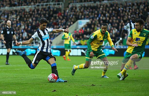 Ayoze Perez of Newcastle United scores their third goal during the Barclays Premier League match between Newcastle United and Norwich City at St...