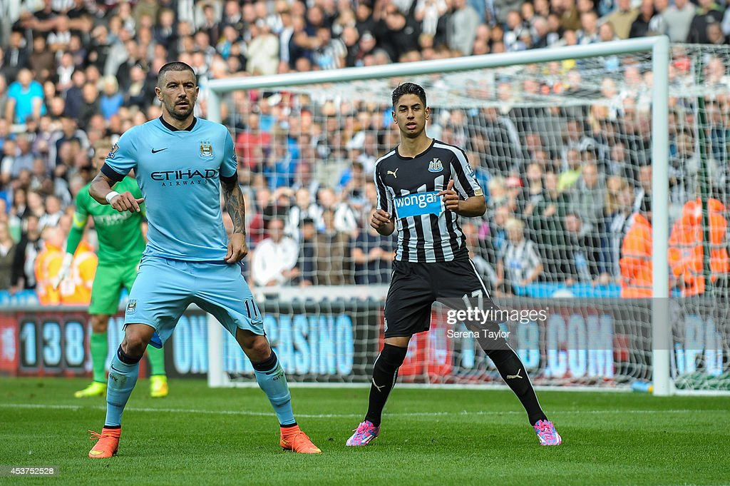 Ayoze Perez of Newcastle waits for the ball during the Barclays Premier League match between Newcastle United and Manchester City at St.James' Park on August 17, 2014, in Newcastle upon Tyne, England.