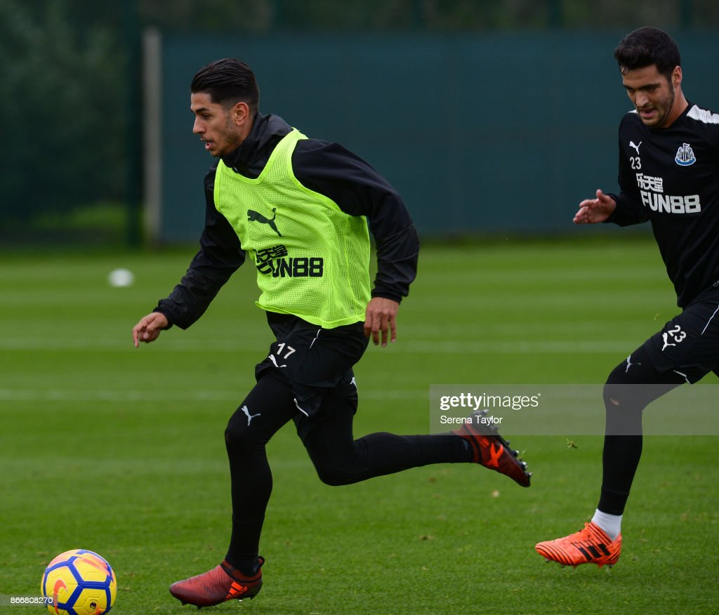 Ayoze Perez runs with the ball during the Newcastle United Training Session at The Newcastle United Training Centre on October 26, 2017, in Newcastle, England.