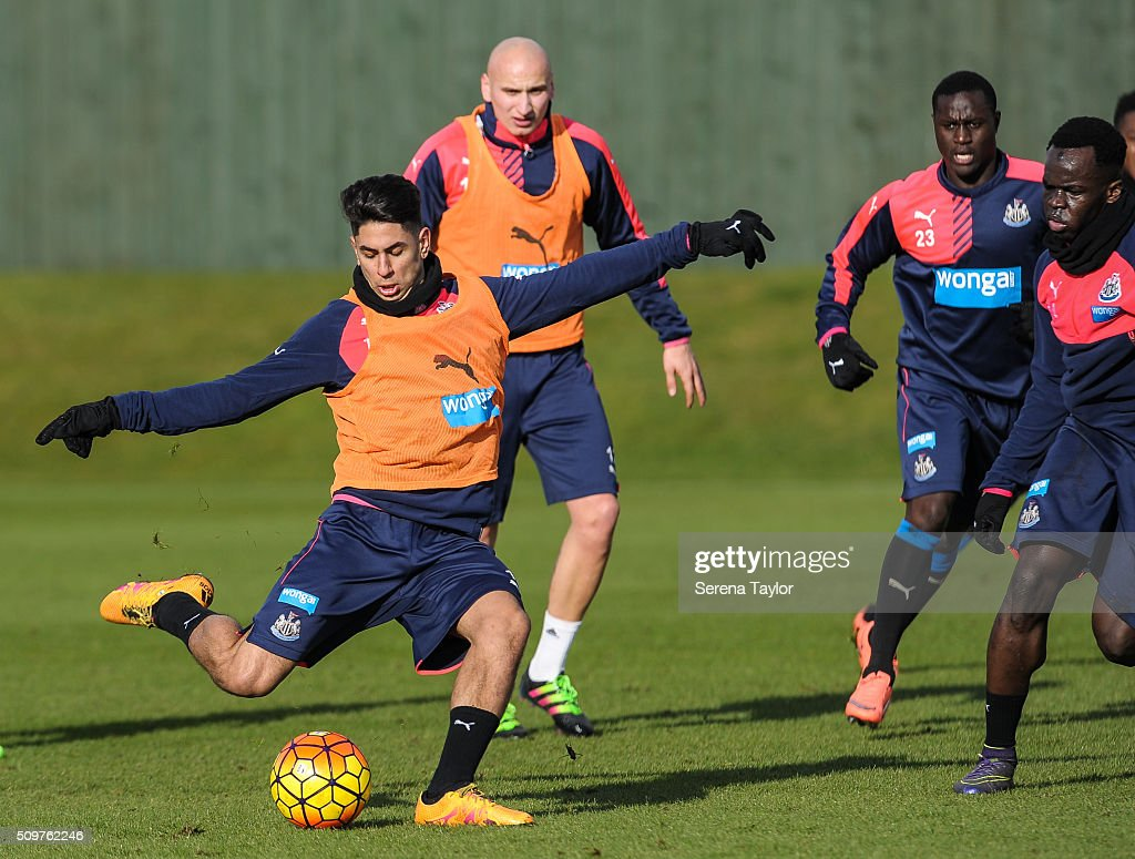 Ayoze Perez strikes the ball during the Newcastle United Training session at The Newcastle United Training Centre on February 12, 2016, in Newcastle upon Tyne, England.