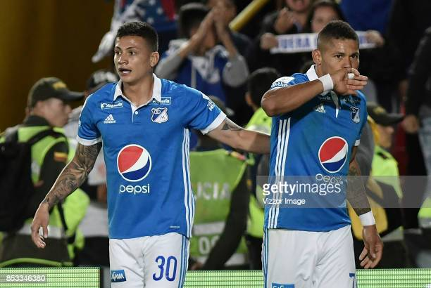 Ayron del Valle of Millonarios celebrates after scoring the first goal of his team during a match between Millonarios and Deportivo Pasto as part of...