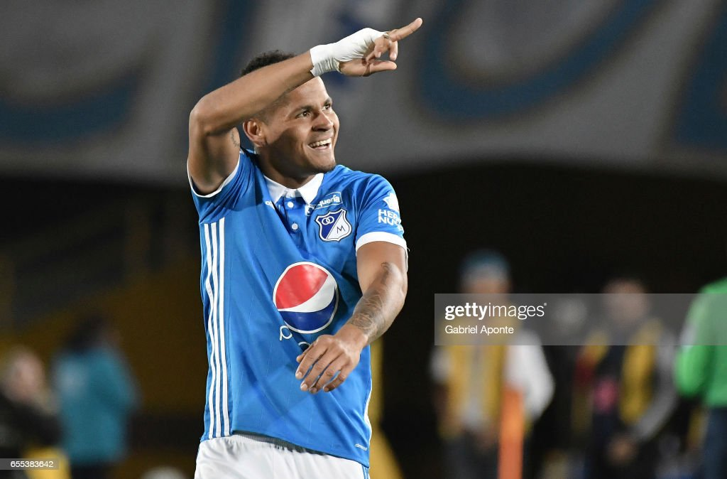 Ayron del Valle of Millonarios celebrates after scoring the second goal of his team during the match between Millonarios and Independiente Santa Fe as part of the Liga Aguila 2017 at Nemesio Camacho El Campin Stadium on March 19, 2017 in Bogota, Colombia.