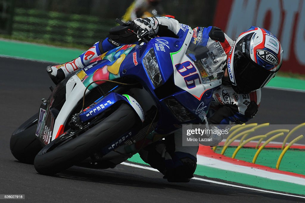 Ayrton Badovini of Italy and GEMAR Balloons Team Lorini rounds the bend during the World Superbikes - Practice at Enzo & Dino Ferrari Circuit on April 29, 2016 in Imola, Italy.