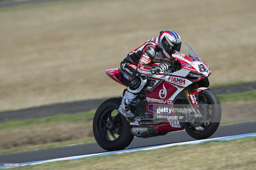 Ayrton Badovini of Italy and Team Ducati Alstare heads down a straight during qualifying practice ahead of the World Superbikes at Phillip Island Grand Prix Circuit on February 22, 2013 in Phillip Island, Australia.