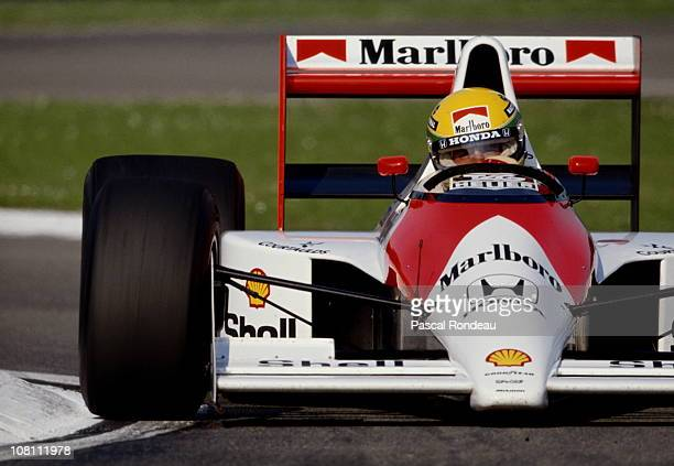 Ayrton Senna drives the Honda Marlboro McLaren MP45B Honda 35 V10 during pre season testing in February 1990 at the Autodromo Enzo e Dino Ferrari in...