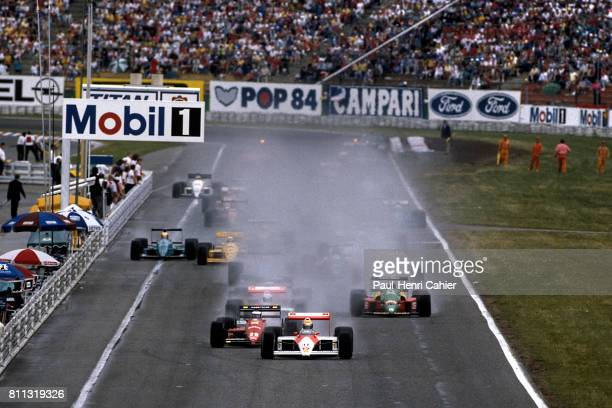 Ayrton Senna Gerhard Berger McLarenHonda MP4/4 Ferrari F1/87/88C Grand Prix of Germany Hockenheimring 24 July 1988