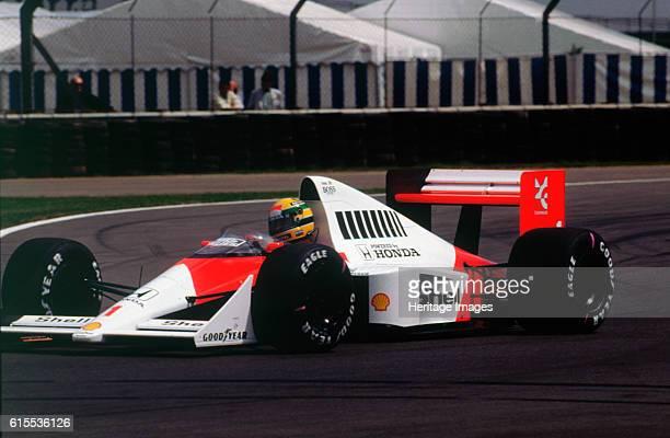 Ayrton Senna in the McLaren MP45 at 1989 British Grand Prix Silverstone Artist Unknown