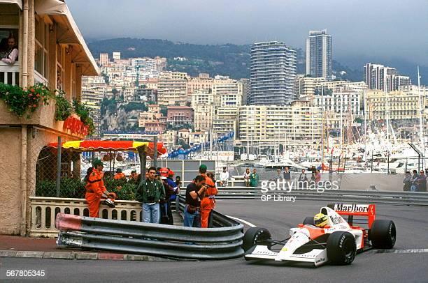 Ayrton Senna in the McLarenHonda at La Rascasse corner leaving the quayside Went on to win the race Monaco GP 12 May 1991