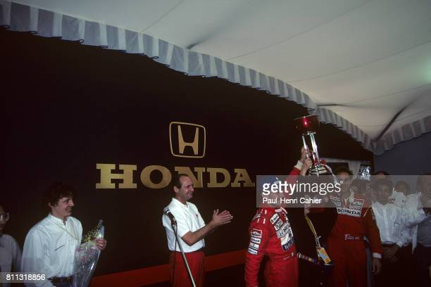 Ayrton Senna Mrs Soishiro Honda Ron Dennis Grand Prix of Japan Suzuka 20 October 1991