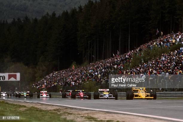 Ayrton Senna Nelson Piquet Gerhard Berger LotusHonda 99T WilliamsHonda FW11B Grand Prix of Belgium SpaFrancorchamps 17 May 1987
