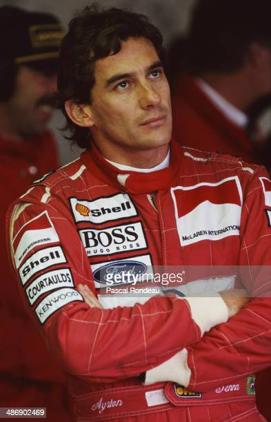Ayrton Senna of Brazi driver of the Marlboro McLaren McLaren MP4/8 Ford HBE7 V8 during practice for the British Grand Prix on 10th July 1993 at the...