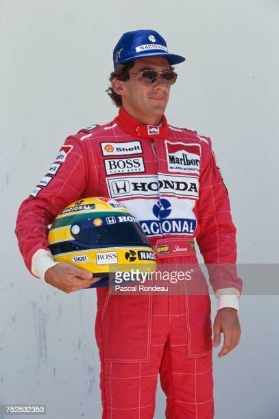 Ayrton Senna of Brazil and driver of the Honda Marlboro McLaren McLaren MP4/6B Honda V12 poses for a portrait during practice for the Yellow Pages...