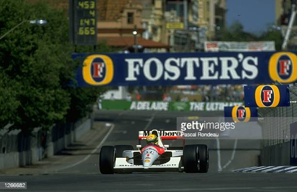 Ayrton Senna of Brazil claims his 60th pole position in his McLaren Honda before the Australian Grand Prix at the Adelaide circuit in Australia Senna...