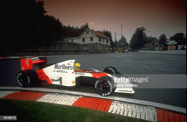 Ayrton Senna of Brazil cuts close to a corner in his McLaren Honda during the Belgian Grand Prix at the Spa circuit in Belgium Senna finished in...