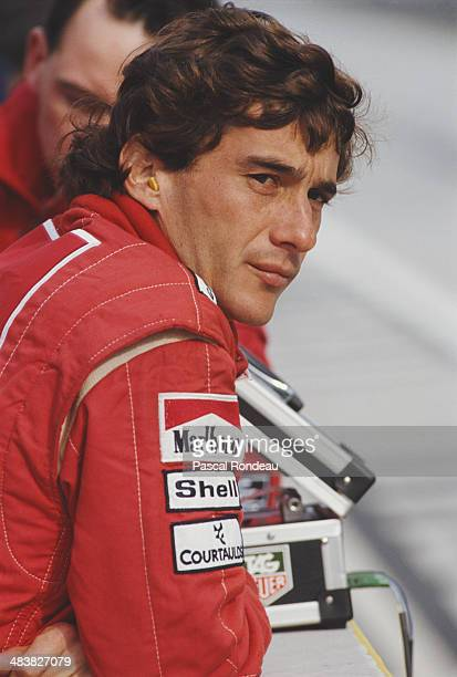 Ayrton Senna of Brazil driver of the Honda Marlboro McLaren McLaren MP4/5B Honda RA109E V10 during pre season testing on 1st February 1990 at the...