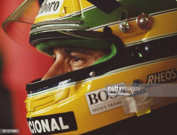 Ayrton Senna of Brazil driver of the Honda Marlboro McLaren McLaren MP4/6 Honda RA121E V10 during practice for the San Marino Grand Prix on 27th...