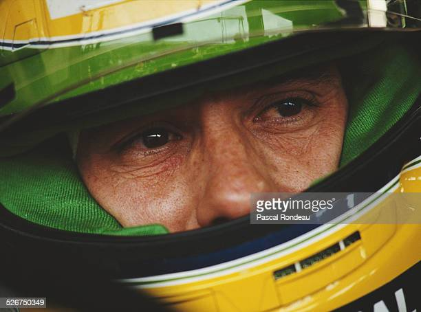 Ayrton Senna of Brazil driver of the Honda Marlboro McLaren McLaren MP4/6 Honda RA121E V10 during practice for the Mobil 1 German Grand Prix on 27th...