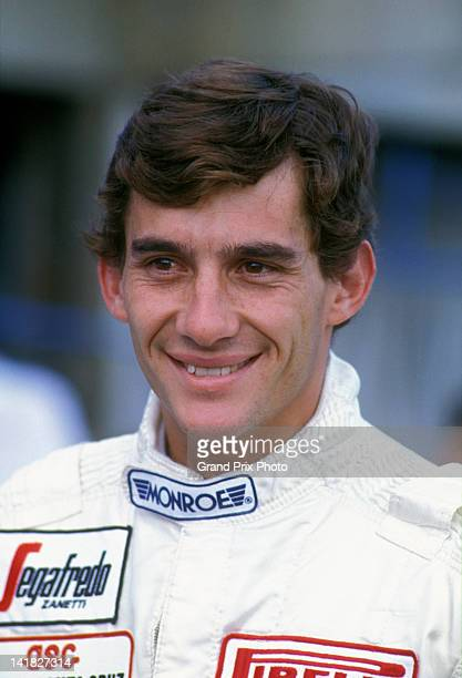 Ayrton Senna of Brazil driver of the Toleman Group Motorsport Toleman TG183B Hart S4 turbo during practice for the Brazilian Grand Prix on 24th March...
