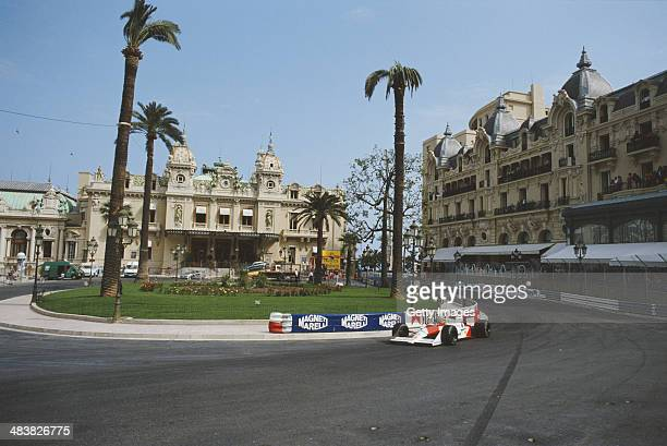 Ayrton Senna of Brazil drives the Honda Marlboro McLaren McLaren MP4/4 Honda RA168E turbo during the Grand Prix of Monaco on 15th May 1988 on the...