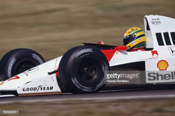 Ayrton Senna of Brazil drives the Honda Marlboro McLaren McLaren MP4/5B Honda RA109E V10 during the Mobil 1 German Grand Prix on 29 July 1990 at the...