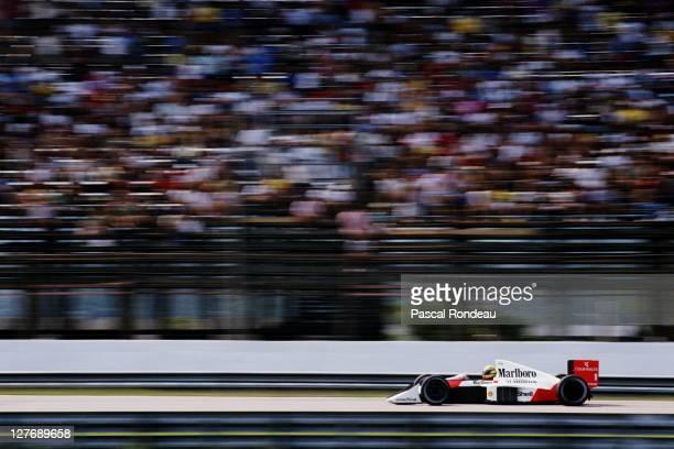 Ayrton Senna of Brazil drives the Honda Marlboro McLaren MP45 Honda 35 V10 during the Brazilian Grand Prix on 26th March 1989 at the Jacarepagua...