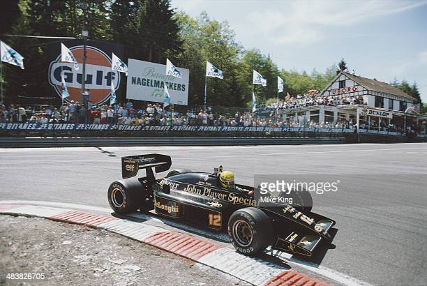 Ayrton Senna of Brazil drives the John Player Special LotusRenault 98T turbo during the Belgian Grand Prix on 23rd May 1986 at the SpaFrancorchamps...