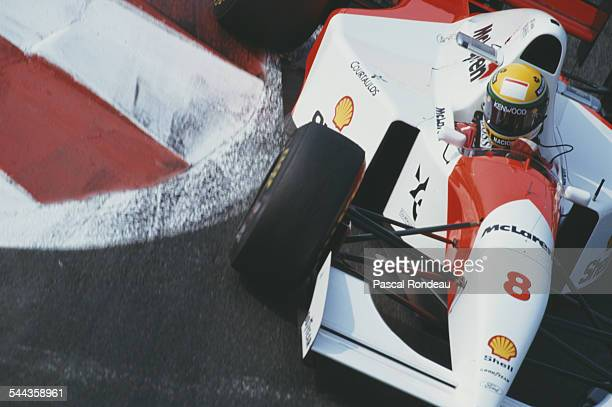 Ayrton Senna of Brazil drives the Marlboro McLaren McLaren MP4/8 Ford HBE7 V8 during the RhonePoulenc French Grand Prix on 4th July 1993 at the...
