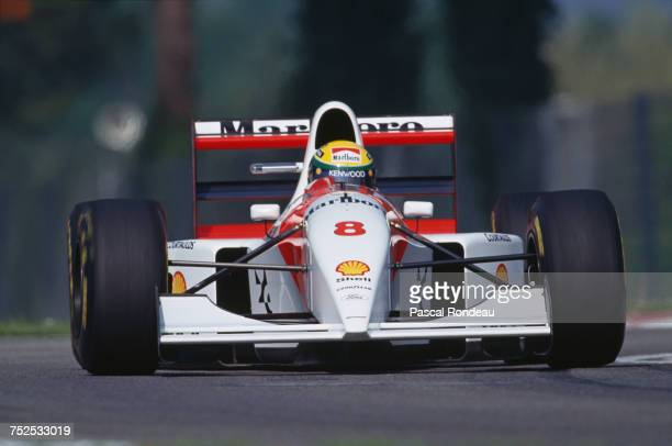 Ayrton Senna of Brazil drives the Marlboro McLaren McLaren MP4/8 Ford HBE7 V8 during practice for the San Marino Grand Prix on 25 April 1993 at the...